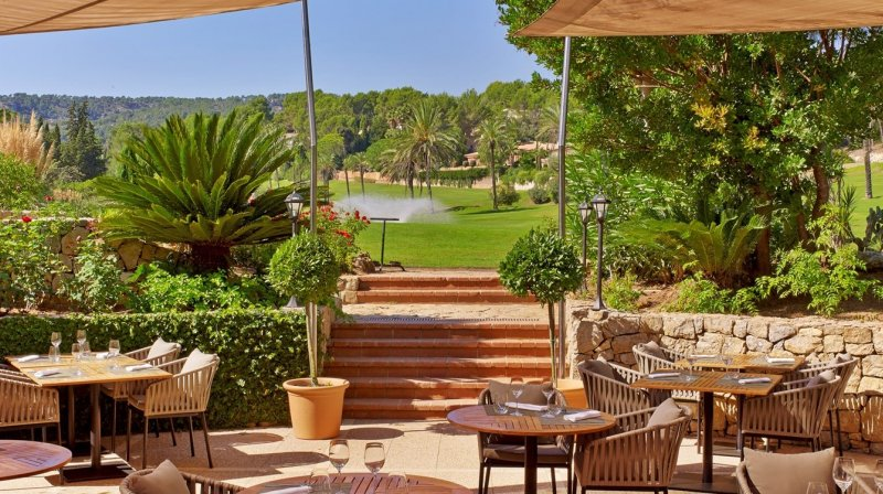 A view from the restaurant onto the golf course at Sheraton Arabella