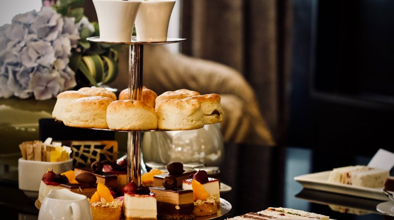 Afternoon tea in a posh hotel.