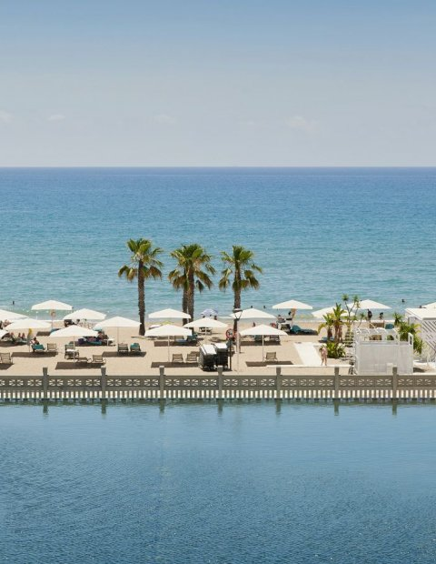 View over the lake and the mediterranean sea from luxury resort Le Meridien Ra